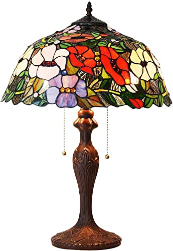 HT Tiffany Style Decor Table lamp, 16 inch Wide Safflower 2 Light Stained Glass Shade Zinc Alloy Base, Antique for Dining Room Living Room Bedroom Study Dresser