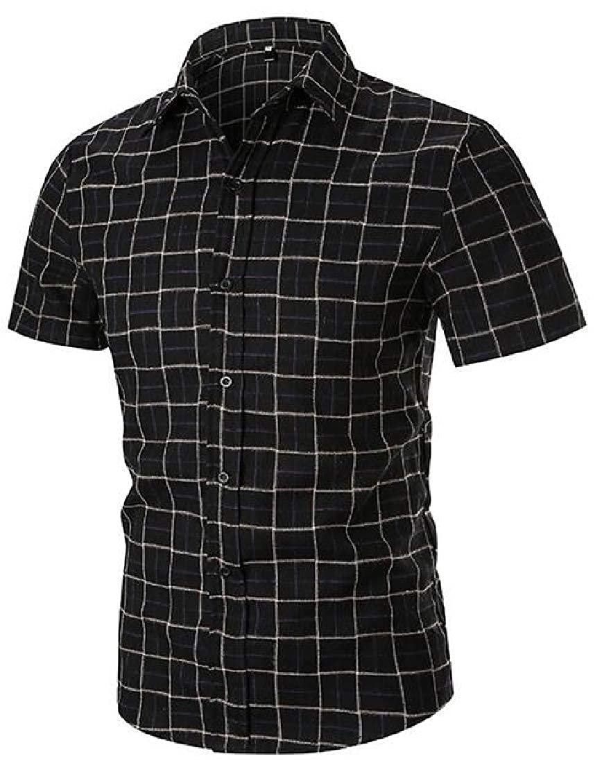 Mstyle Mens Short Sleeve Summer Checkered Slim Fit Button Up Dress Shirts