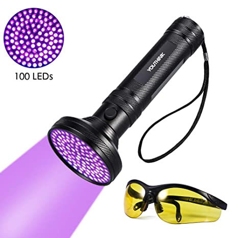 DGTRHTED Linterna UV - Linterna UV Detector de orina para Manchas de Mascotas Brillante 100 Leds