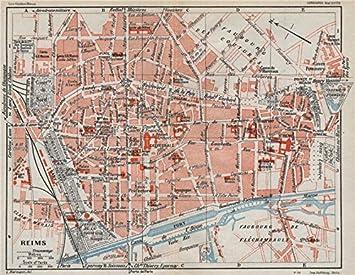 Amazon.com: REIMS. Vintage town city ville map plan carte. Marne ...