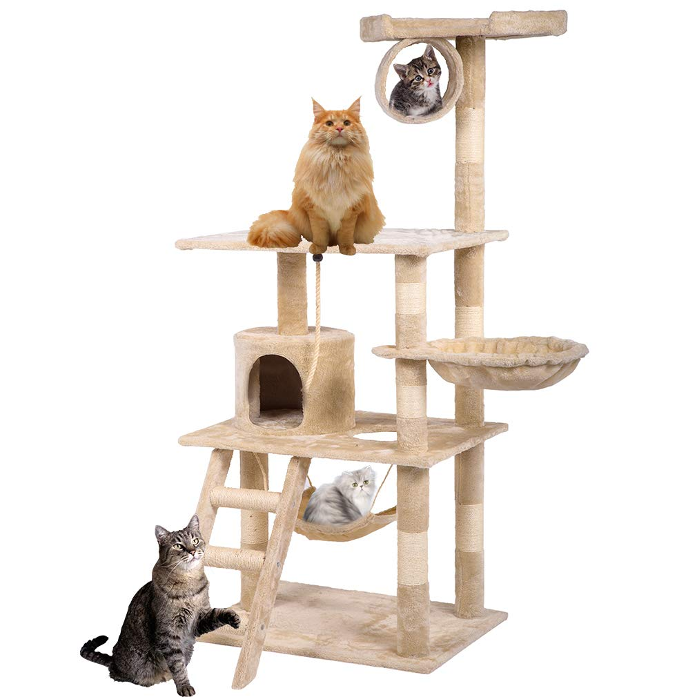 BestPet Cat Tree Cat Condo Kitty Tree Cat Tower Cat House with Scratching Post,64'' by BestPet