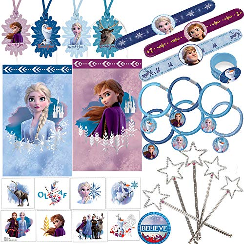 Frozen 2 Birthday Party Wearables Favors and Goodie Bag Fillers Pack For 8 With Elsa and Anna Frozen 2 Goody Bags,Tags, Slap Bracelets, Hair Pony Tails, Tattoos Snowflake Wands and Frozen Inspired Pin