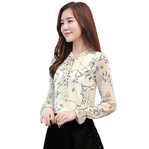 d2c6c9e0e8a64 EFINNY Women Floral Leaf Chiffon Blouse Slim OL Office Lady Long Sleeve T  Shirt Plus Size at Amazon Women s Clothing store