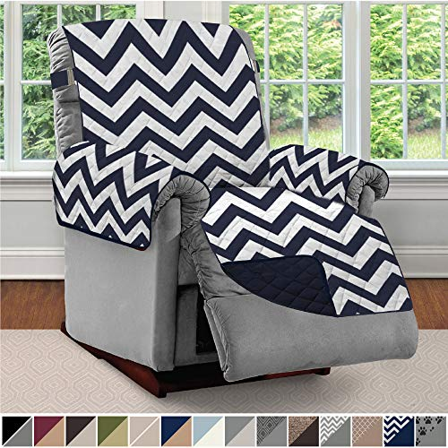 Sofa Shield Original Patent Pending Reversible Large Recliner Protector, Seat Width to 28 Inch, Furniture Slipcover, 2 Inch Strap, Chair Slip Cover Throw for Pets, Recliner, Chevron Navy White