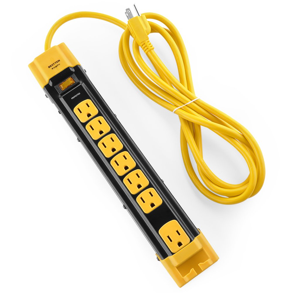 Bestten 7 Outlet Heavy Duty Metal Surge Protector Power Strip with Cord Management, 9-Foot Cord, ETL Certified, Yellow by BESTTEN