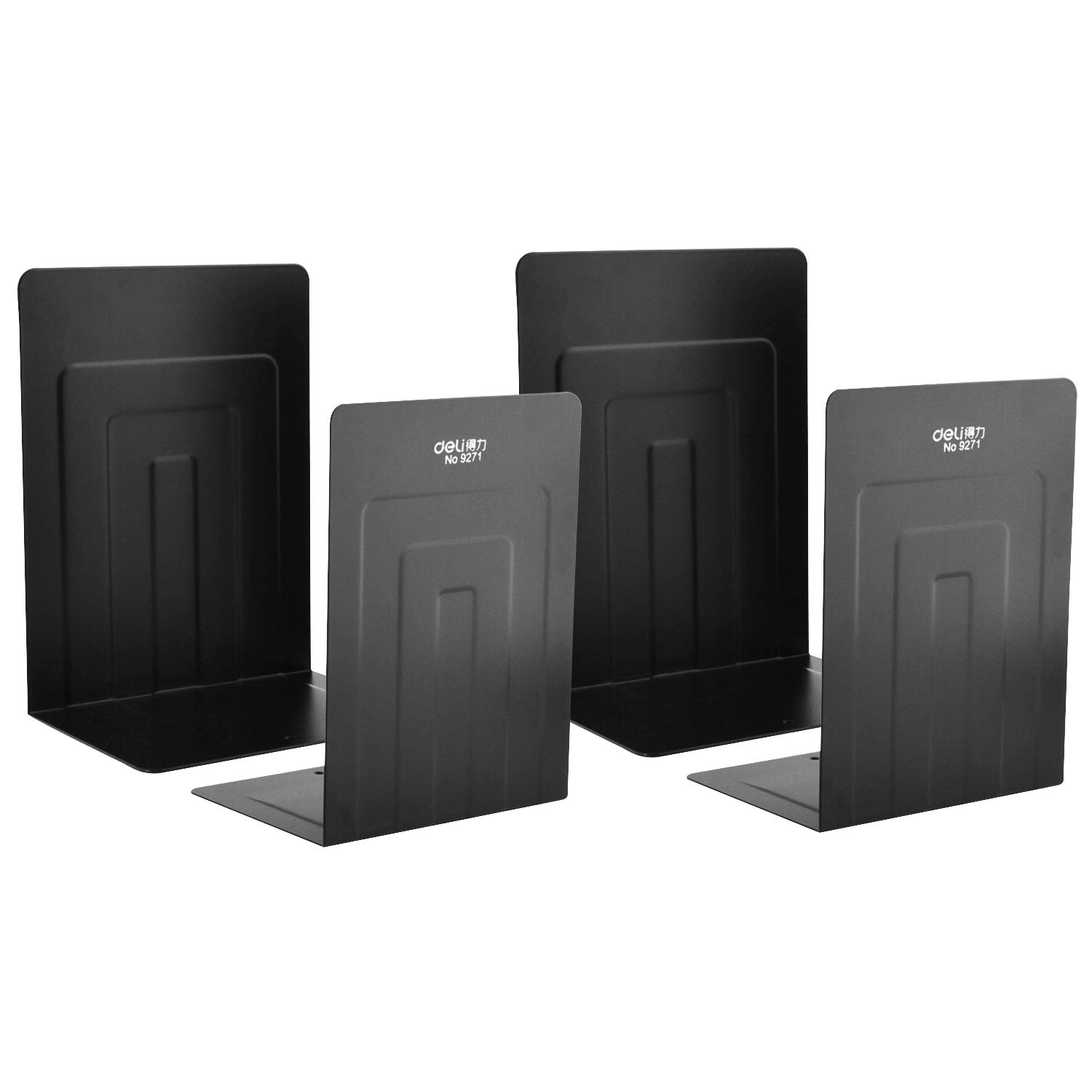MaxGear Bookends Book Ends Universal Economy Bookends Premium Bookends Nonskid Heavy Duty Metal Bookend Supports for Books Notebooks Files Magazines Cookbooks 5.2 x 4 x 7 inch Black 2 Pair/4 Piece by MaxGear