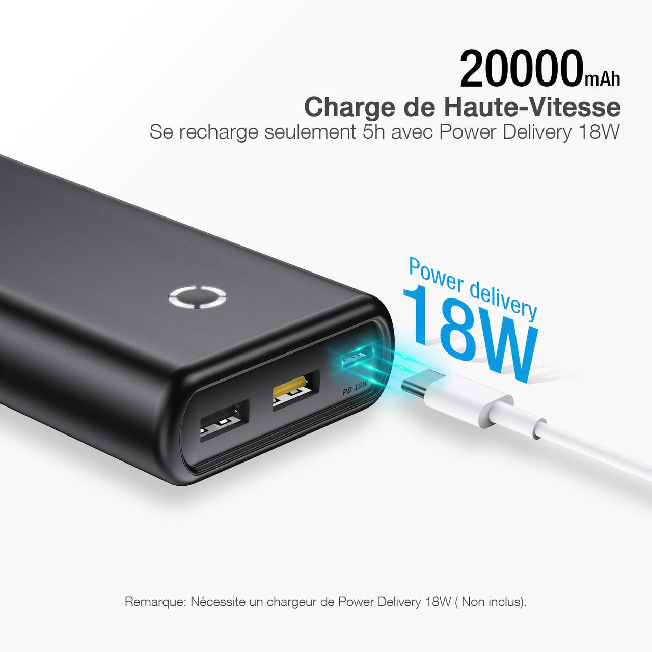 POWERADD Energycell Batterie Externe 20000mAh Power Delivery Type-C Chargeur Portable QC 3.0 Grande Capacité pour Nintendo Switch, iPhone, MacBook, Galaxy S8, ASUS, LG, etc