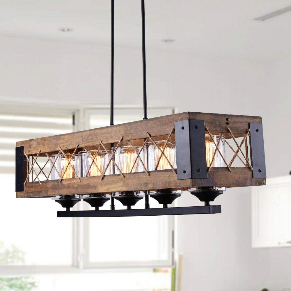 Kitchen Island Wood Hanging Light Fixture