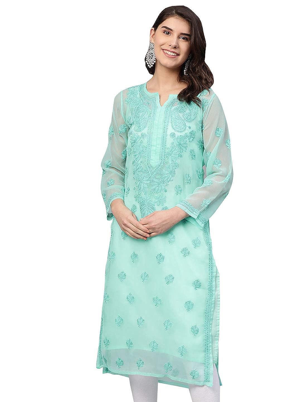 Ethnic Wear Georgette Kurti Lucknow Chikan Handwork Kurta Kaftan Top..