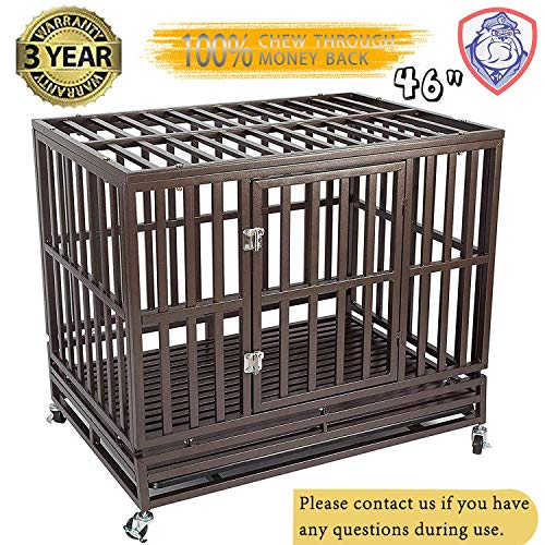 (Gelinzon Heavy Duty Metal Dog Cage Kennel Crate and Playpen for Training Large Dog Indoor Outdoor with Door & Locks Design Included Lockable Wheels Removable Tray, 46'')