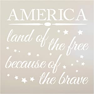 "America - Land of The Free Stencil by StudioR12 | Patriotic Word Art - Reusable Mylar Template | Painting, Chalk, Mixed Media | Use for Crafting, DIY Home Decor- STCL1233 Select Size (12"" x 12"")"