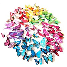 Simoshaw 72 Pcs 3d Butterfly Stickers Home Decoration DIY Removable 3d Vivid Special Man-made Lively Butterfly Art DIY Decor Wall Stickers for Wall Decor Kids Room Bedroom Living Room 6 Colors