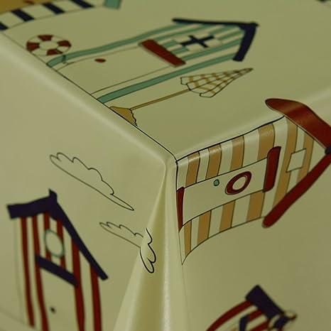Diseño de casetas de playa Protector de limpiar – Mantel de vinilo PVC color beige en