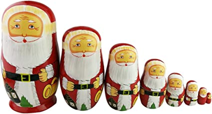 10pcs Santa Claus Nesting Dolls Authentic Russian Wooden Matryoshka Dolls for Kids Boys Girls Stacking Toys