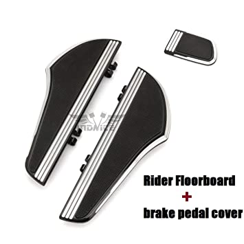 For Harley Black CNC Defiance Rider Footboard brake pedal cover Fat Boy touring street glide FLHX driver floorboards FLTR FLHT Road King FLHR 2000-2019