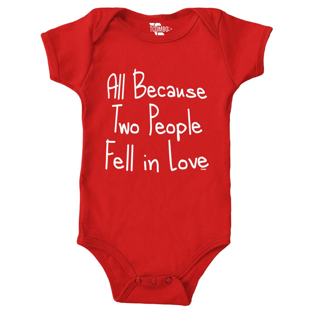 Tcombo All Because 2 People Fell In Love Bodysuit (Newborn, Red)