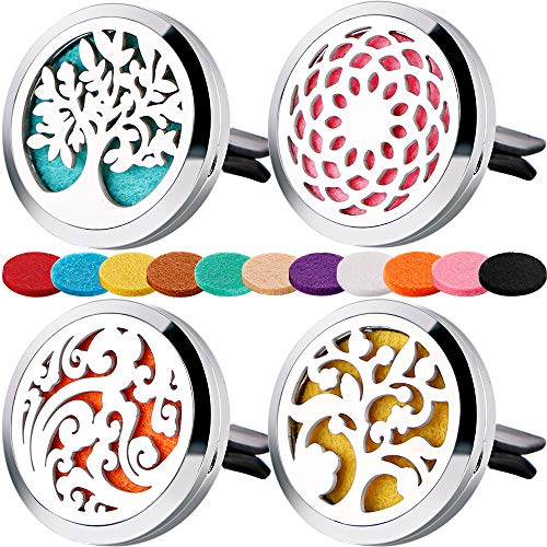 4 PCS Car Essential Oil Diffuser Vent Clip,Car Aromatherapy Diffuser Stainless Steel Locket with 44 Refill Pads