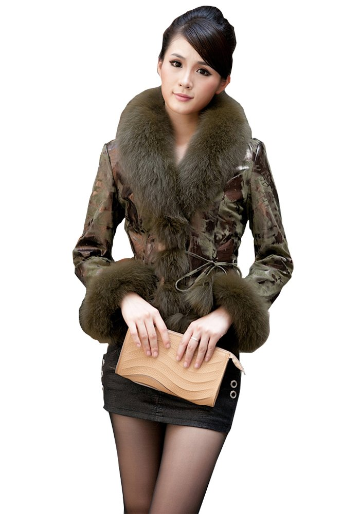 Queenshiny New Style Female Sheep Leather Coat Jacket with Fox Collar-Military Green-L(12-14)