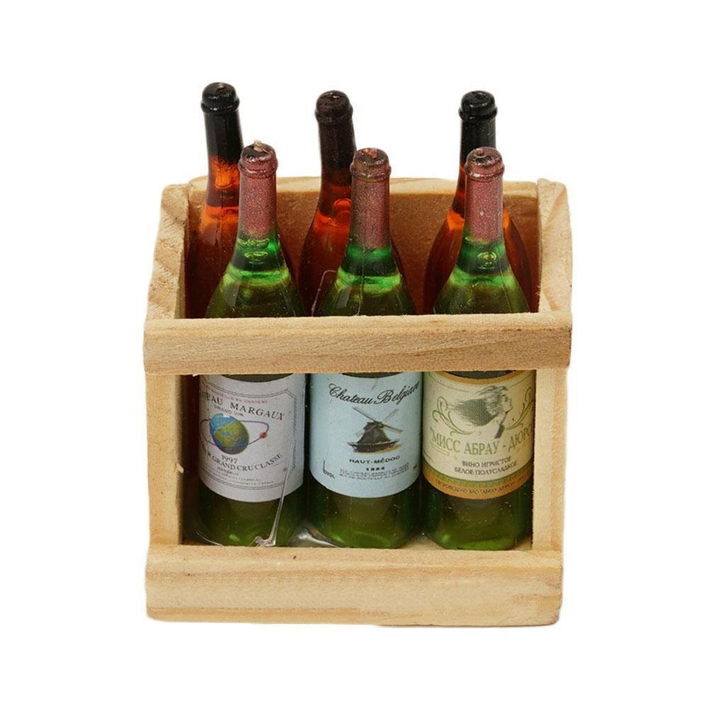 Gracefulvara 6 Pcs Doll House Accessories Mini Wine Bottles with Wooden Frame