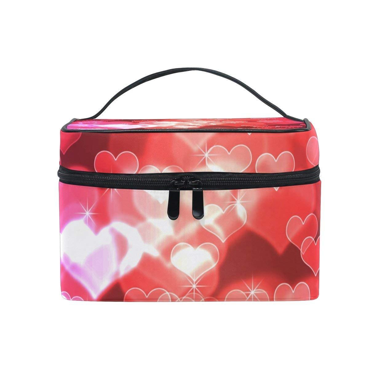 Makeup Bag Bling Love Heart Mens Travel Toiletry Bag Mens Cosmetic Bags for Women Fun Large Makeup Organizer