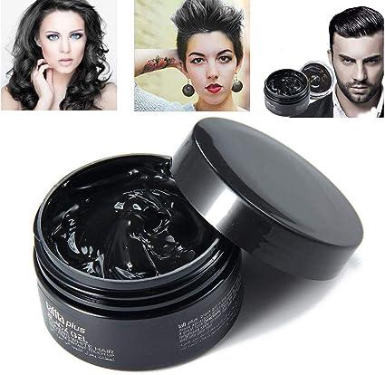 MOGOI - Cera temporal para el cabello, 100 ml, lavable, color negro, crema de barro instantáneo para hombres y mujeres, tinte natural para el cabello, ...