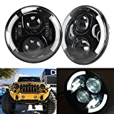 7inch Round 50W Hi/Lo Beam Cree LED Driving Light Headlights Insert with DRL & Turn Signal & Halo Ring Angle Eyes for Jeep Wrangler JK TJ LJ 1997 - 2017