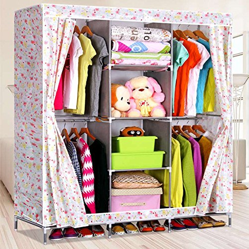 Generic Large Size Portable Double Wardrobe Closet Clothes Storage Home Furniture Rack Cabinet