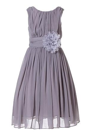 b7f41d1e091 HAPPY ROSE Junior Bridesmaids Little Girls Elegant Ruffle Chiffon Summer Flowers  Girls Dresses  Amazon.co.uk  Clothing