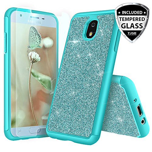 TJS Galaxy J3 2018/J3 V 2018/J337/Express Prime 3/J3 Star/J3 Orbit/J3 Achieve/J3 Prime 2/Amp Prime 3/Sol 3 Case, With [Tempered Glass Screen Protector] Glitter Bling Cute Girls Women Phone Case (Teal)