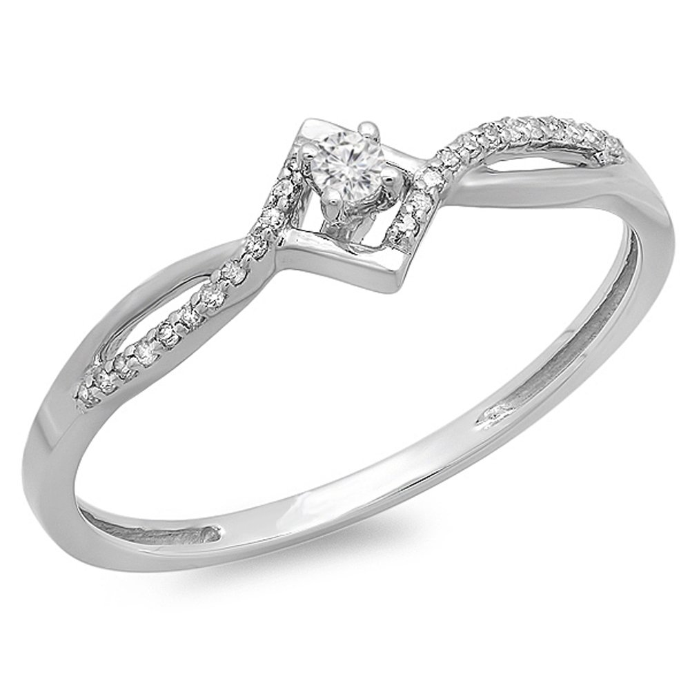 0.12 Carat (ctw) 10K White Gold Round Cut White Diamond Ladies Bypass Style Promise Ring (Size 10) by DazzlingRock Collection