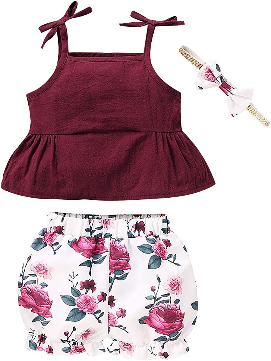 Shorts 2 Pieces Sunsuit Little Girl Toddlers Summer Clothes Set Bow Tie Ruffle Sleeveless Top