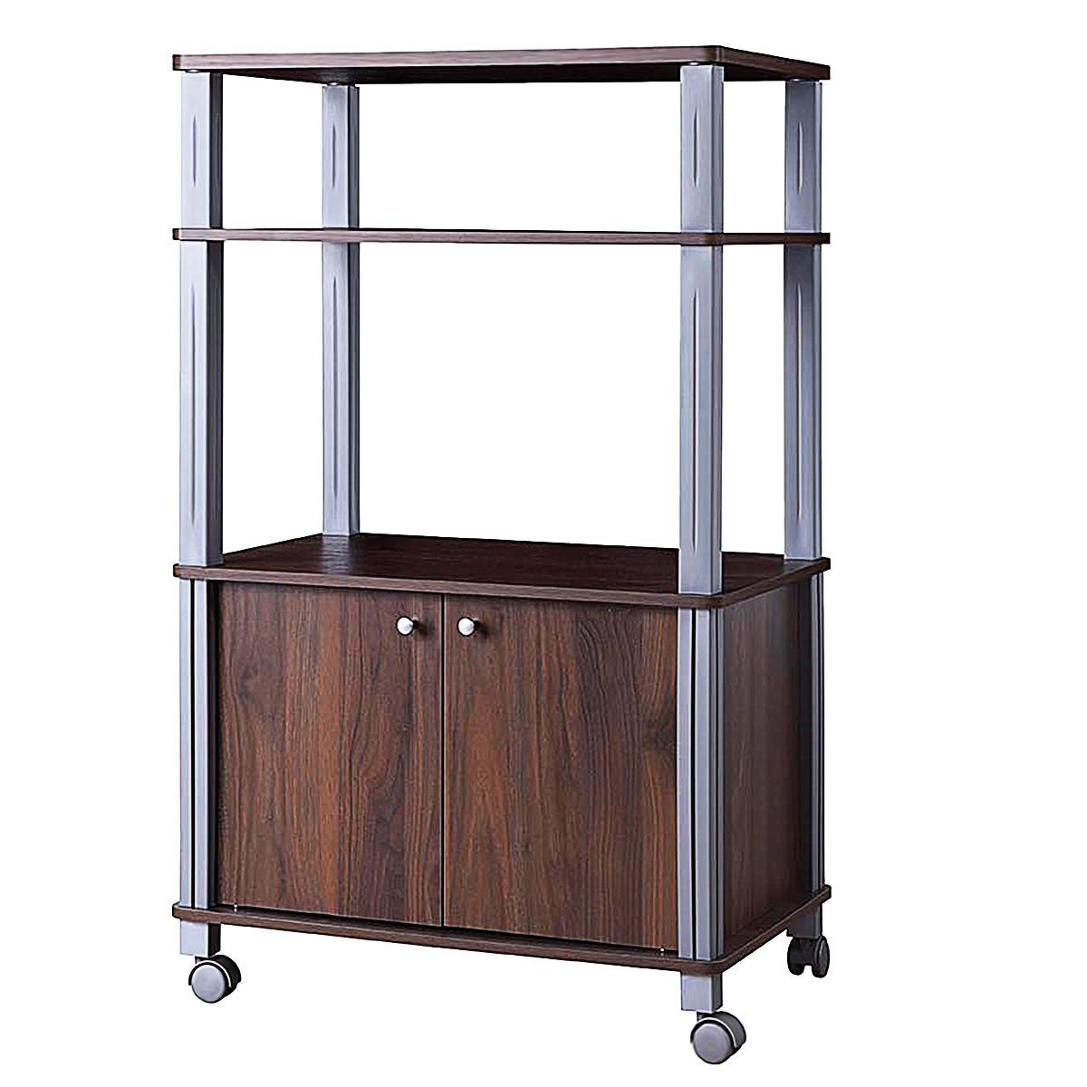 Giantex Rolling Kitchen Baker's Rack Microwave Oven Stand Utility Shelf on Wheels Storage Cart Spice Workstation Organizer with 2-Tier Shelf and Cabinet, Kitchen or Dining Room Furnitu (Walnut) by Giantex (Image #2)
