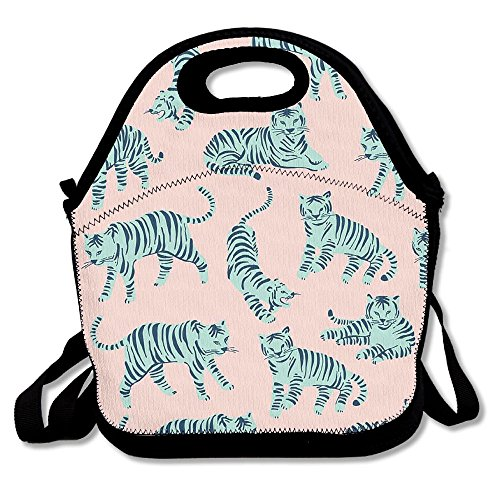 Jingclor Tiger Clipart Funny Painting Love Insulated Portable Reusable Picnic Lunch Tote Bags For Women, Teens, Girls, Kids, Adults, Office, School Or Gym