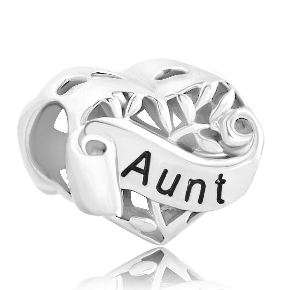 avec inscription /« Grandma /» /« Wife /&ra /« Daughter /» /« Aunt /» /« Mum /» /« Sister /» en argent sterling Breloques pour bracelet de Sug Jasmin en forme de c/œur /« Niece /»