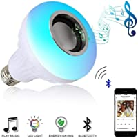 TFHEEY LED inteligente Música foco RGB E27 altavoz Bluetooth inalámbrico luz colorida mando a distancia reproductor de audio (12 colores)