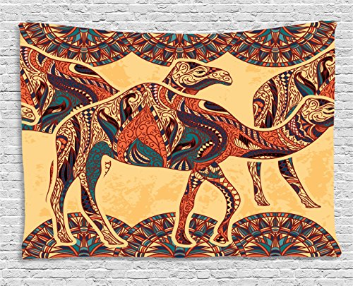 Ambesonne Tribal Decor Tapestry by, African Camel Animals with Oriental Arabesque Ornaments Folk Culture Image, Wall Hanging for Bedroom Living Room Dorm, 60WX40L Inches, Yellow Orange by Ambesonne