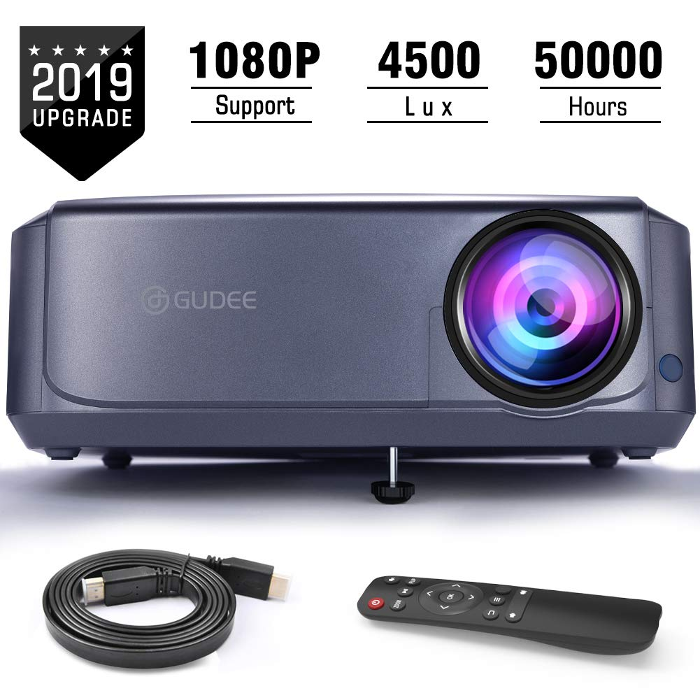 Projector, GuDee Full HD Video Projector for Business PowerPoint Presentations, 1080P Home Movie Projector for Laptop, Smartphone, Fire TV Stick, PS4, HDMI, USB by GuDee