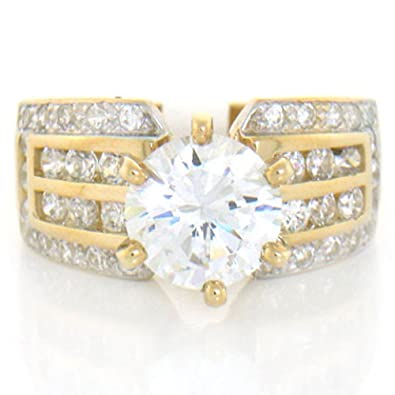 Amazon 10k Solid Yellow Gold White CZ Engagement Ring Jewelry