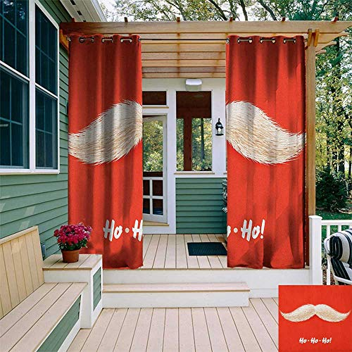 leinuoyi Christmas, Outdoor Curtain Wall, Hairy Vivid Mustache of Santa Claus with Ho Ho Ho Lettering Happy New Year, for Patio Waterproof W84 x L96 Inch Scarlet Cream