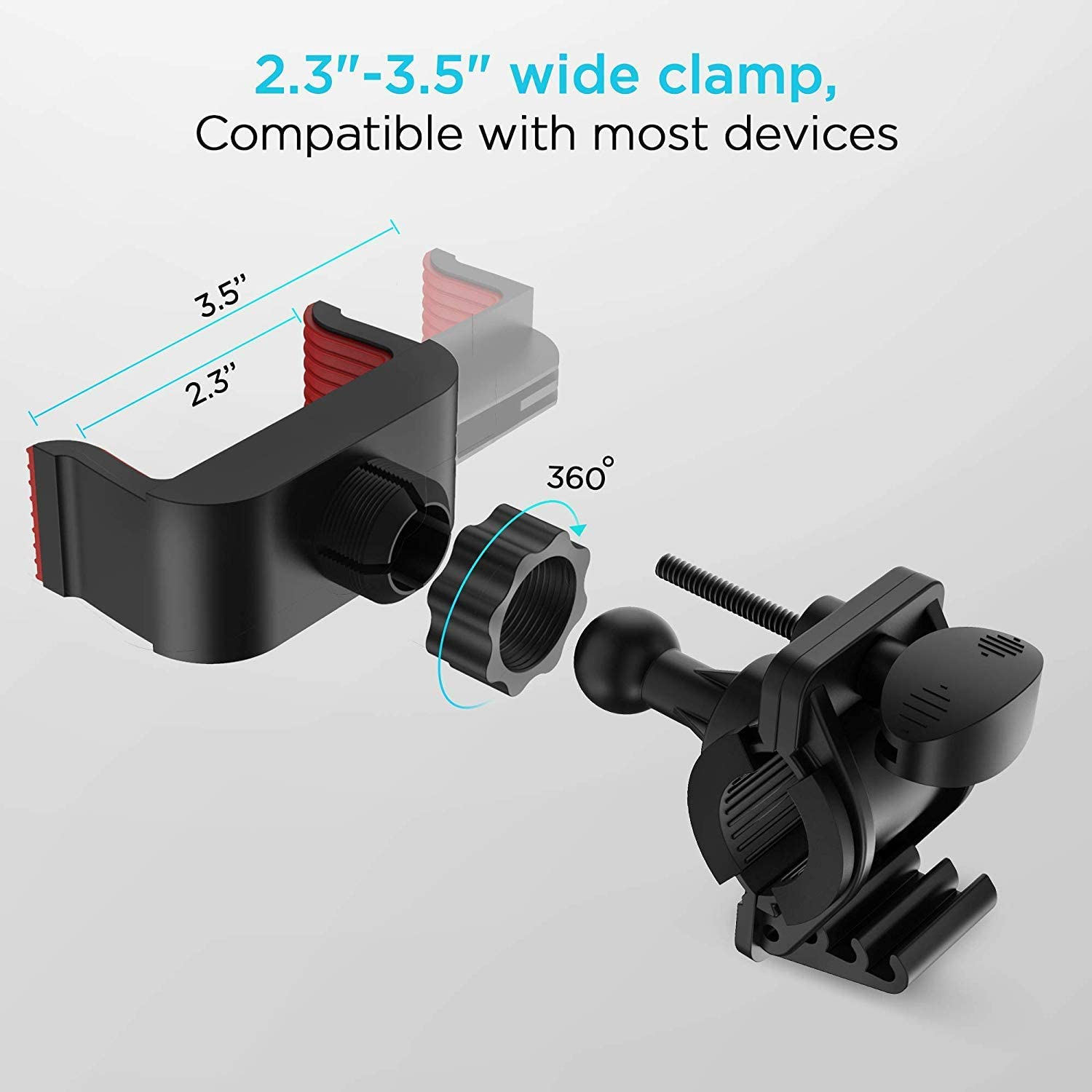 Universal Cell Phone Bicycle Rack Handlebar /& Motorcycle Holder Cradle Compatible with All Cellphones Smartphones Bike Mount Black