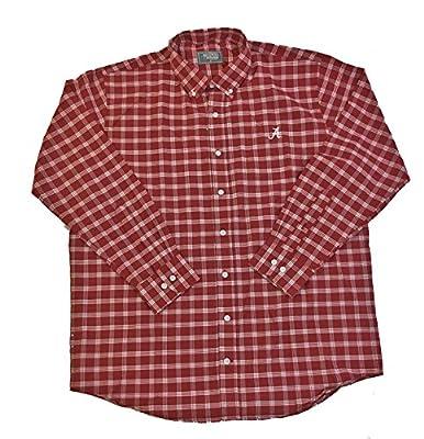 Southern Collegiate Apparel Tuskwear Alabama Pointer Plaid Script A Long Sleeve Dress Shirt