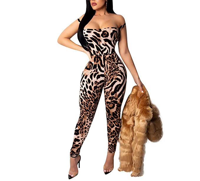competitive price well known hot-selling latest HAOAN Women Sexy Leopard Jumpsuits Print Bandage Backless Bodycon Rompers