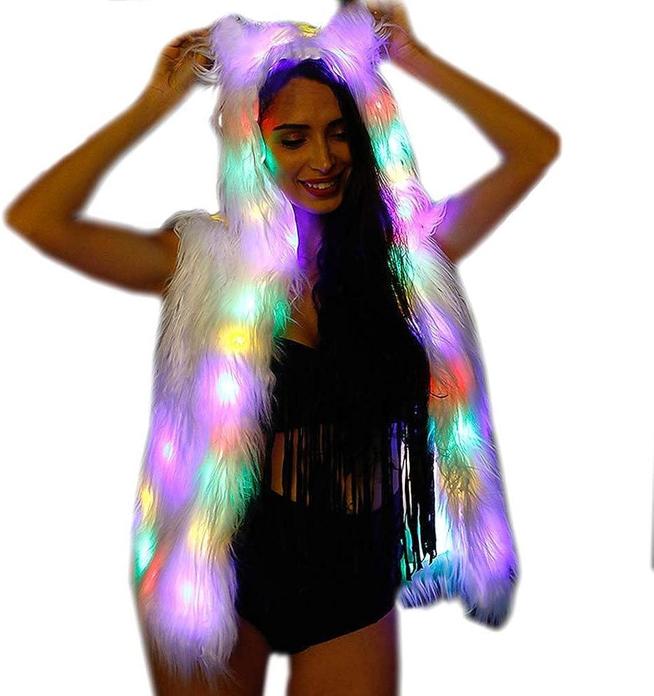 New Women Light Up Faux Fur LED Bear Ear Hoodies Vest Jacket Girls Stage Costume Bithday Party Xmas Fancy Dress