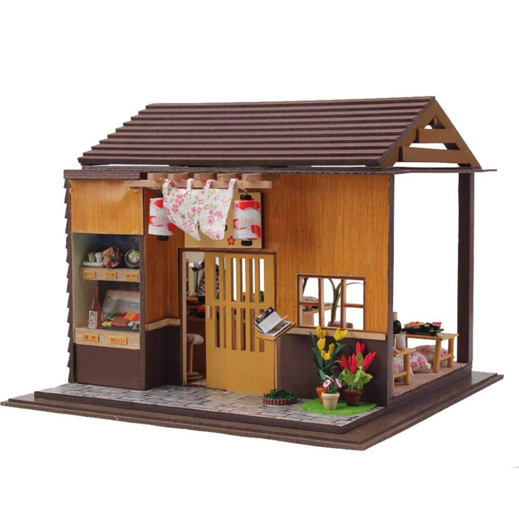 Rylai 3D Puzzles Wooden Handmade Miniature Dollhouse DIY Kit w/ Light-Japanese Sushi Model Series Dollhouses Accessories Dolls Houses with Furniture & LED & Music Box Best Birthday Gift