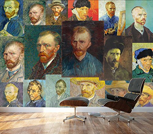 Peel and Stick Wallpapaer Self Portrait Paintings Collage By Vincent Van Gogh Removable Large Wall Mural Creative Wall Decal