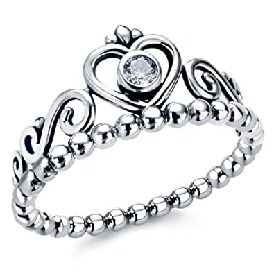 97c290952 AllenCOCO 925 Sterling Silver Princess Crown Ring Stackable My Princess  Tiara Rings: Amazon.co.uk: Jewellery