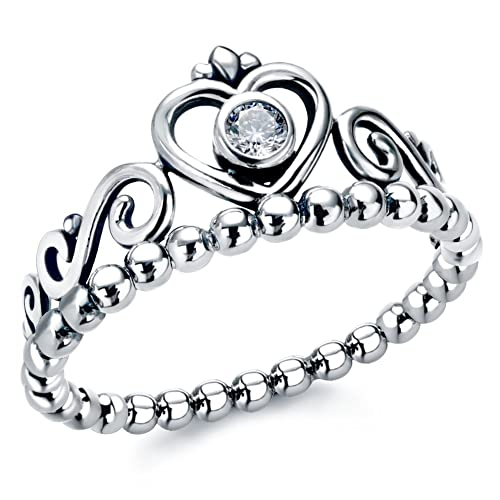 b6e4874c9 Amazon.com: Sterling Silver Stackable Rings With Cubic Zirconia Princess  Heart Crown Ring: Jewelry
