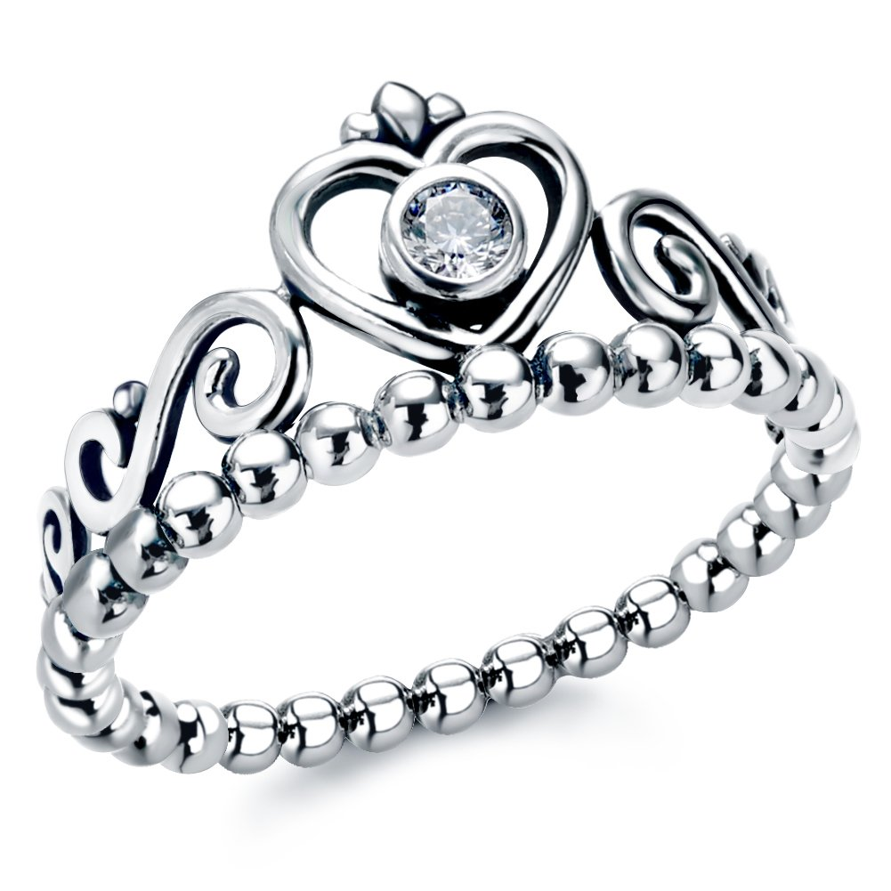Sterling Silver Stackable Rings With Cubic Zirconia Princess Heart Crown Ring