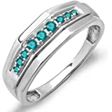 0.25 Carat (ctw) Sterling Silver Round Blue Real Diamond Men's Wedding Anniversary Band 1/4 CT