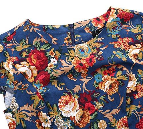 Sleeve Party Printed Dress Vintage Swing Blue TENCON Cap BI Style Floral Women's 1950s Retro z0WSqO